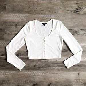 Cropped Long Sleeve Snap-Up Blouse